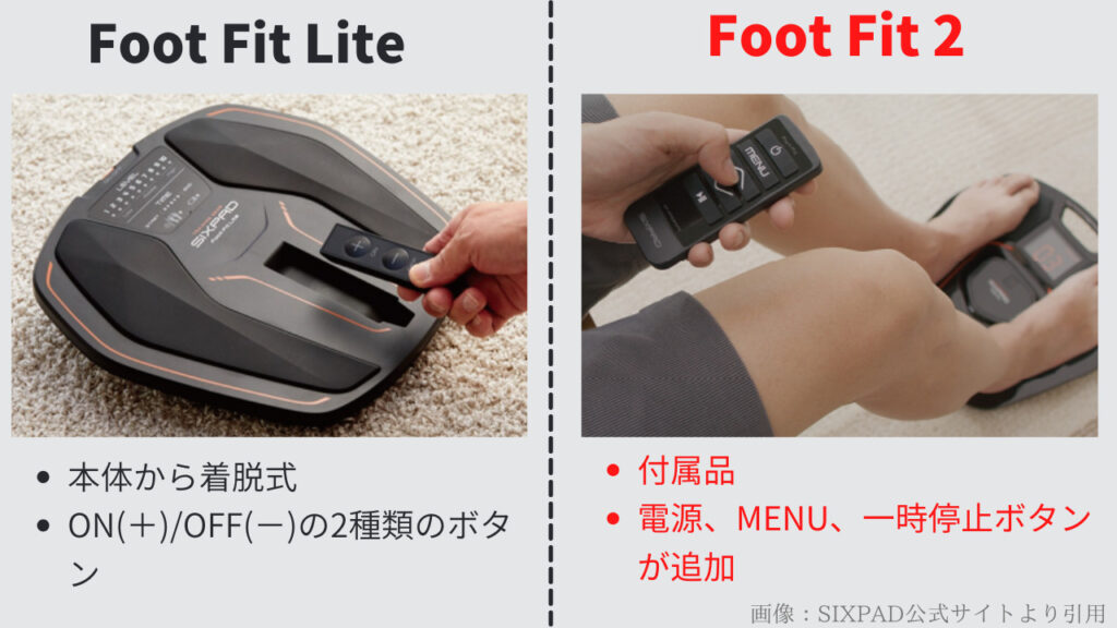 Foot Fit LiteとFoot Fit2のリモコンの違い